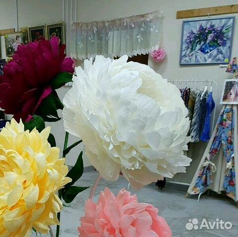 Цветы пионы из гофрированной бумаги большие