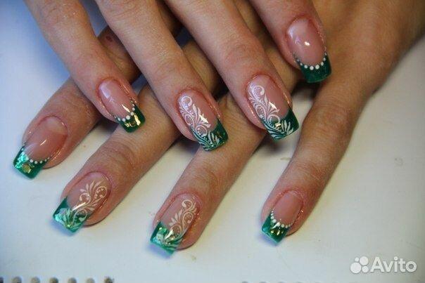 Дизайн ногтей зеленых цветов