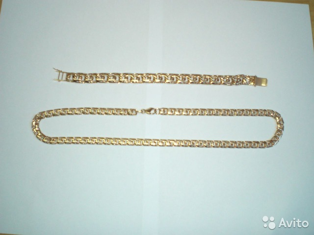 Комплект золотая цепь и браслет