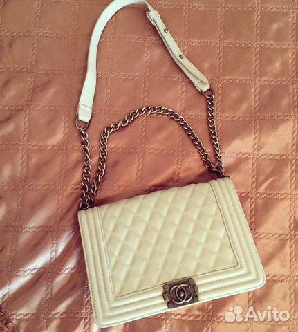 Женская белая сумка CHANEL WOC Flap Bag