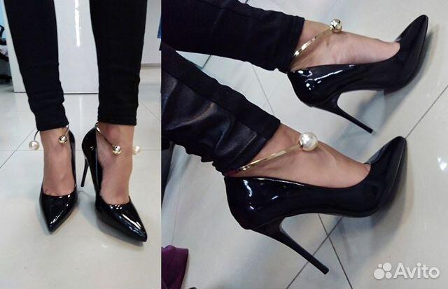 5c7f8ff2cfa1 Новые лаковые туфли с жемчужинами Лодочки Черные 1 купить в Санкт ...