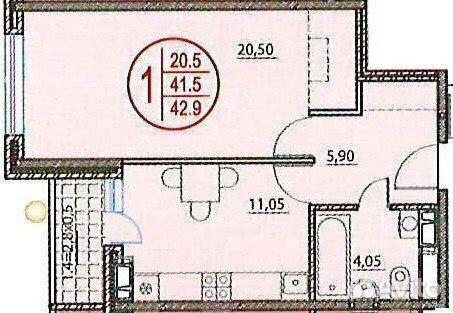 Продается однокомнатная квартира за 2 900 000 рублей. ул Российская, 74/3.
