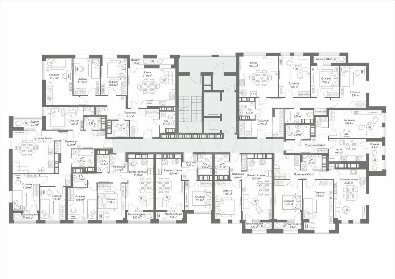 3-к квартира, 86 м², 4/19 эт.  88314107670 купить 2
