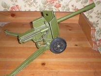Игрушки СССР. Пушка. Орудие Д-74. Металл. Стреляет